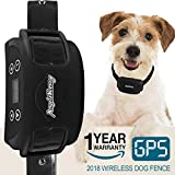 AngelaKerry Wireless Dog Fence System with GPS, Outdoor Invisible Pet Containment System Rechargeable Waterproof Collar 850YD Remote for 15lbs-120lbs Dogs (Black, 1pc GPS Receiver by 1 Dog) For Sale