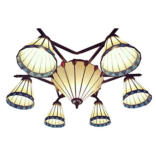 Tiffany Style Chandelier, Euro Minimalist Blue and White Lines Wrought Iron Glass Ceiling Light, Bedroom Kitchen Dining Room Pendant Light, E27