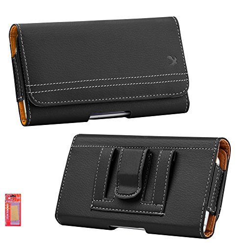 iPhone 8 Holster, iPhone 7 Holster, Holster Pouch with Belt Clip, Leather ID Wallet Case for Apple iPhone 8 / iPhone 7 Kaede Protector (Fits with OtterBox/Lifeproof/Spigen/Other Slime Case) (Black)