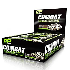 MusclePharm Combat Crunch Protein Bar, Multi-Layered Baked Bar, Gluten-Free Bars, 20 g Protein, Low-Sugar, Low-Carb, Gluten-Free, Chocolate Coconut Bars, 12 Servings