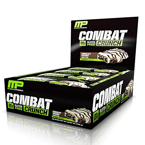 MusclePharm Combat Crunch Protein Bar, Multi-Layered Baked Bar, Gluten-Free Bars, 20 g Protein, Low-Sugar, Low-Carb, Gluten-Free, Chocolate Coconut Bars, 12 Servings (Eas Myoplex Nutrition Facts)