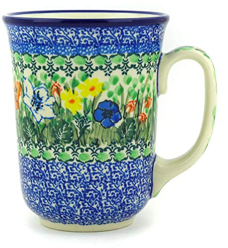 Polish Pottery 16 oz Mug made by Ceramika Artystyczna (Lily Meadow Theme) Signature UNIKAT + Certificate of Authenticity