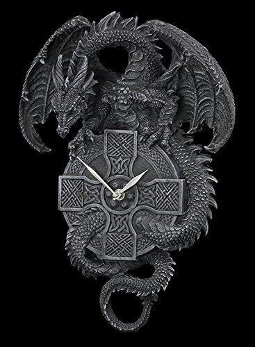 Dragón Reloj de pared con cruz celta - Gothic Reloj pared figura: Amazon.es: Hogar