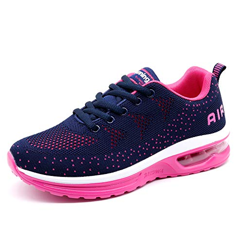 Womens Sneakers Mesh Comfortable Lightweight Athletic Walking Shoes Breathable Sports Gym Shoes Navy Rose 6