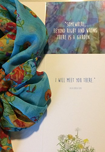 Smiling Wisdom - Rumi Truce Greeting Card with Floral Garden Scarf - Value Friendship, Relationship - Resolve Conflict, Apology - Blue Multi-colored for - Of Material Swimsuits Are Made What