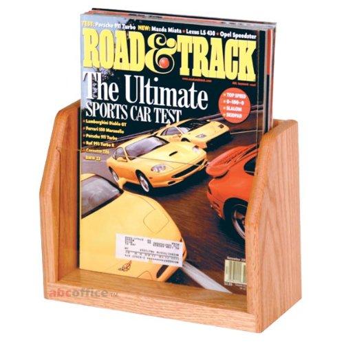 (Wooden Mallet MT-1 Oak & Acrylic Countertop Single Pocket Magazine Rack in Light Oak)