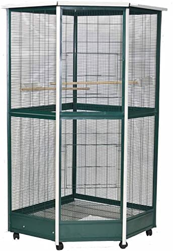 A E Cage Co. Large Corner Aviary, 52 x42 x74 , Green