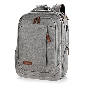 KROSER Laptop Backpack Computer Backpack 17 Inch Daypack Water-Repellent Laptop Bag with USB Charging PORT for Business/School/Travel/Women/Men-LightGrey