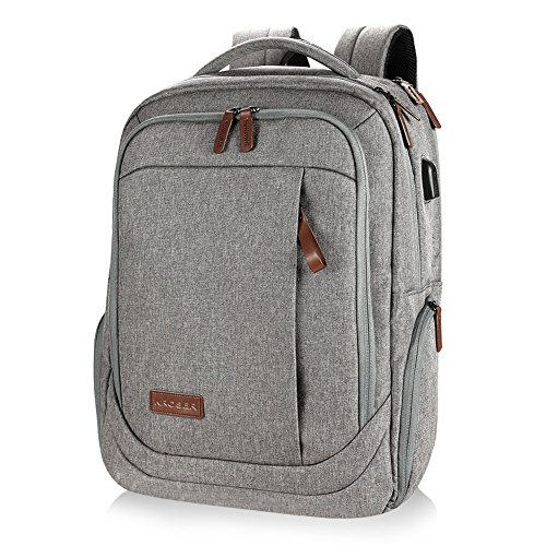 KROSER Laptop Backpack 17.3 Inch Computer Backpack Daypack Water-Repellent Laptop Bag with USB Charging Port for Business/School/Travel/Women/Men-Grey