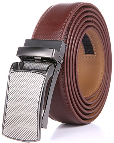 - Marino Men's Genuine Leather Ratchet Dress Belt with Linxx Buckle, Enclosed in an Elegant Gift Box - Silver Checkboard Design Buckle with Tan Leather - Adjustable form 28