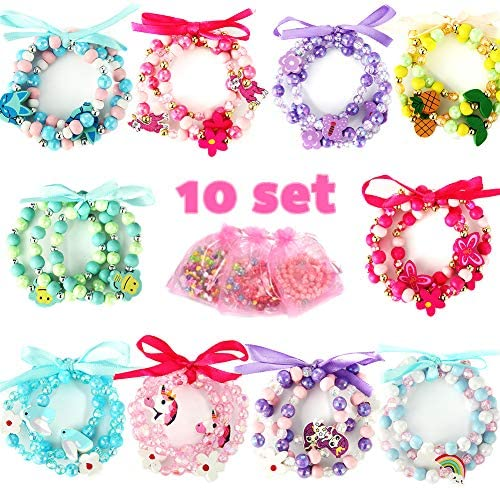 PinkSeep Beaded Bracelets for Kids- 10 Pack 30 PC Unicorn Mermaid Rainbow Bracelet Little Girl Plastic Wood Bracelets