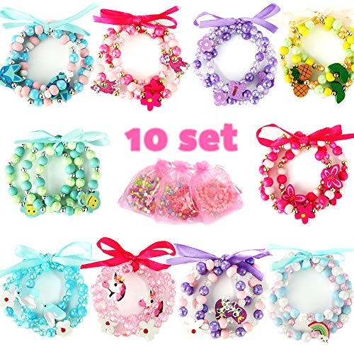 - PinkSeep Beaded Bracelets for Kids- 10 Pack 30 PC, Unicorn Mermaid Rainbow Bracelet, Little Girl Plastic Wood Bracelets