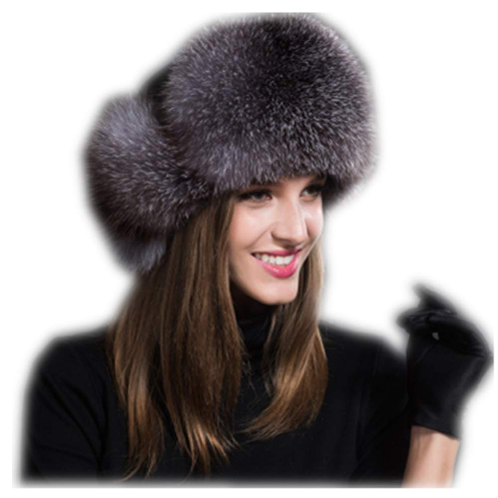 MH Bailment Womens Winter Hat Genuine Fox Fur Russian Hats Lei Feng hat (One Size, Silver Blue) by MH Bailment (Image #1)