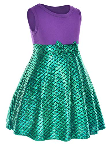 Little Girls Mermaid Green Dress Halloween Cosplay Costumes for Toddler Girls -