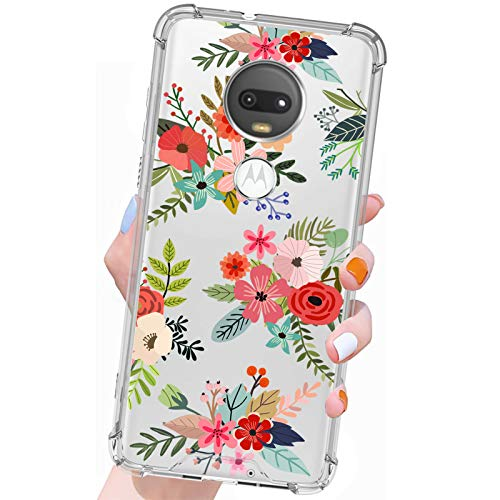 Gukalong Clear Case for Moto G7, G7 Plus Colorful Flowers Floral Design Full Body Shockproof Protective Soft TPU + Hard PC Bumper Cover Wireless Charging Slim Thin Case for Moto G7, G7 Plus 6.2 Inch