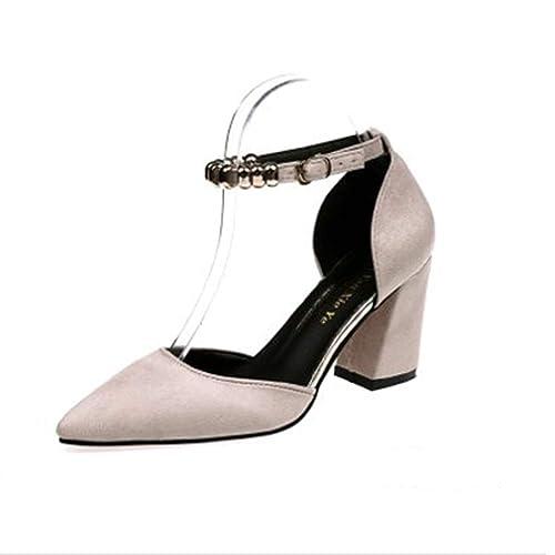 f61819f21cf1 heipeiwa Womens Pumps Ankle Strap Jeweled Buckle Closed Toe Chunky Heeled  Sandals Beige