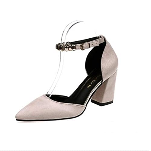 9936190dd055 heipeiwa Womens Pumps Ankle Strap Jeweled Buckle Closed Toe Chunky Heeled  Sandals Beige