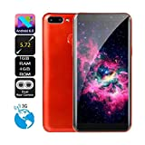 5.72 inch Quad Core Smartphone Dual HD Camera Android IPS FULL Screen GSM/WCDMA 4GB Touch Screen WIFI BT GPS 3G Call Mobile Phone for Men Women (Red)