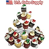 U.S. Cake Supply Brand 41 Count Metal Cupcake Dessert Stand with 5 Tiers - Great for Holiday & Birthday Parties - Halloween - Thanksgiving - Christmas - 4th of July - Valentines Day - Birthdays - Use with Themed Wilton Cupcake Baking Cups