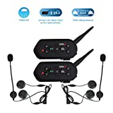 2 Pack EJEAS-E6 BT Bluetooth Intercom 1300m 6 Riders Full Duplex Talk Waterproof Wireless Motorcycle Helmet Interphone Headset with Walkie-Talkie Sports Skiing Climbing