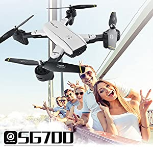 Drone with Camera Live Video BIZONOD SG700 WIFI FPV Rc Drone with 120°Wide Angle 720HD Camera Folding RTF Remote Control Helicopter Toy for Kids and beginners by BIZONOD