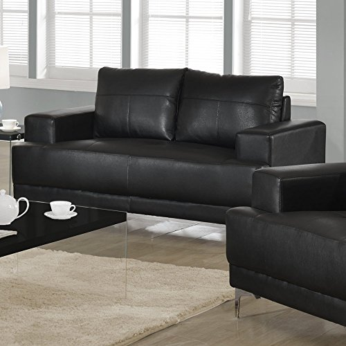 Monarch Bonded Leather Match Love Seat, Black