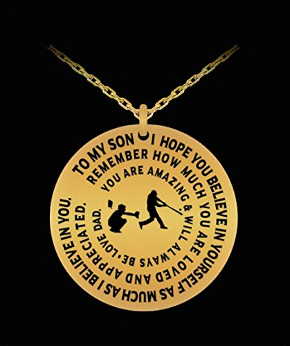 Baseball Necklace To Son From Dad - Gold Laser Engraved Necklace - Inspirational Gift (One Tool Torque Ball)