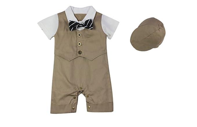 Le SSara Bebé Bowknot mameluco de caballero niños con atuendo de sombrero para el sol: Amazon.es: Ropa y accesorios