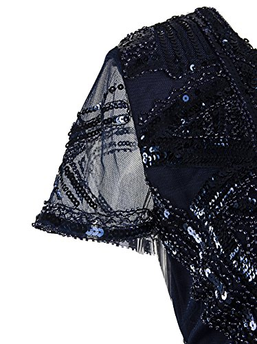 Vikoros - Vestido - Noche - Paisley - Manga corta - para mujer azul marino