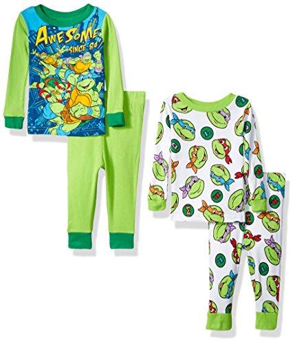 Four Ninja Turtles (Nickelodeon Boys' Ninja Turtle 4-Piece Cotton Pajama Set, Green, 24 Months)