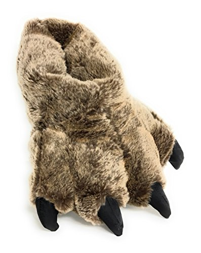 (Wild Ones Furry Animal Claw Slippers for Toddlers, Kids and Adults (Medium Mens 6 to 8 ½, Brown Timber Wolf))
