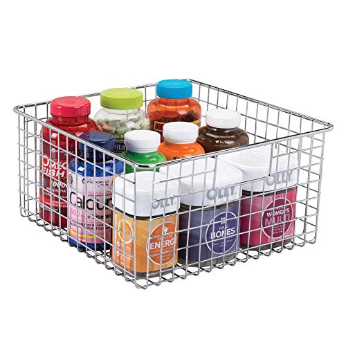 mDesign Metal Bathroom Storage Organizer Basket Bin - Farmhouse Decor, Grid Design - Organization for Cabinets, Shelves, Closets, Vanity Countertops, Bedrooms - X-Large Container - Chrome
