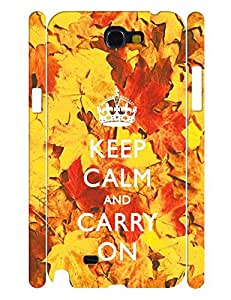 Individualized Series Cell Phone Case With Keep Calm And Crown And Maple Leaves Graphic Back Case Cover for Samsung Galaxy Note 2 N7100