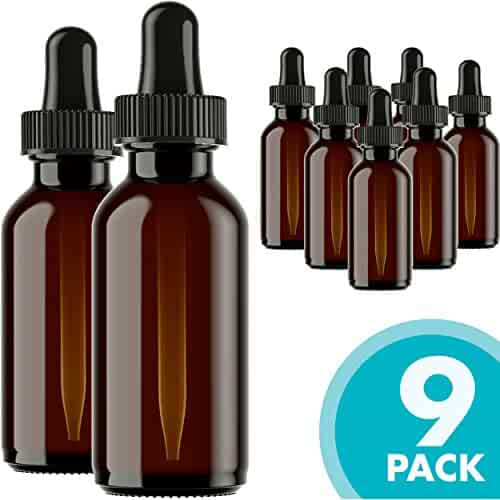 Glass Bottles for Essential Oils - 9 Pack 30 ml Refillable Empty Amber Bottle with Dropper and Cap – DIY Blends Supplies Tool & Accessories Perfume Aromatherapy – Carrier Oil Kit – Bulk Essentials