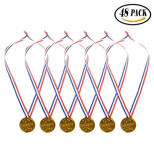 Plastic Gold Medals 48 Pack, Buytra Kids Gold Winner Award Medals with Ribbon for Party Game Prizes
