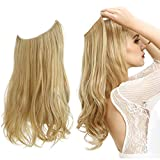 Hair Extension Blonde Long Synthetic Halo Hairpiece Curly Wavy 18 Inch 4.2 Oz Hidden Wire Headband for Women Heat Friendly Fiber No Clip SARLA(M01&22/613)