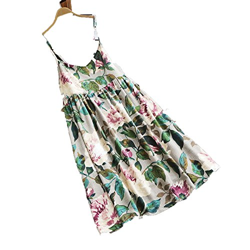 Plus Size Summer Mini Dress Strappy Sleeveless Boho Floral Print Loose,Off White,4XL