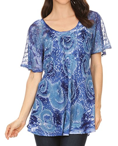 Sakkas 17876 - Lena Tie-dye Short Sleeve Blouse Top with Crochet Lace and Embroidery - Blue - OS