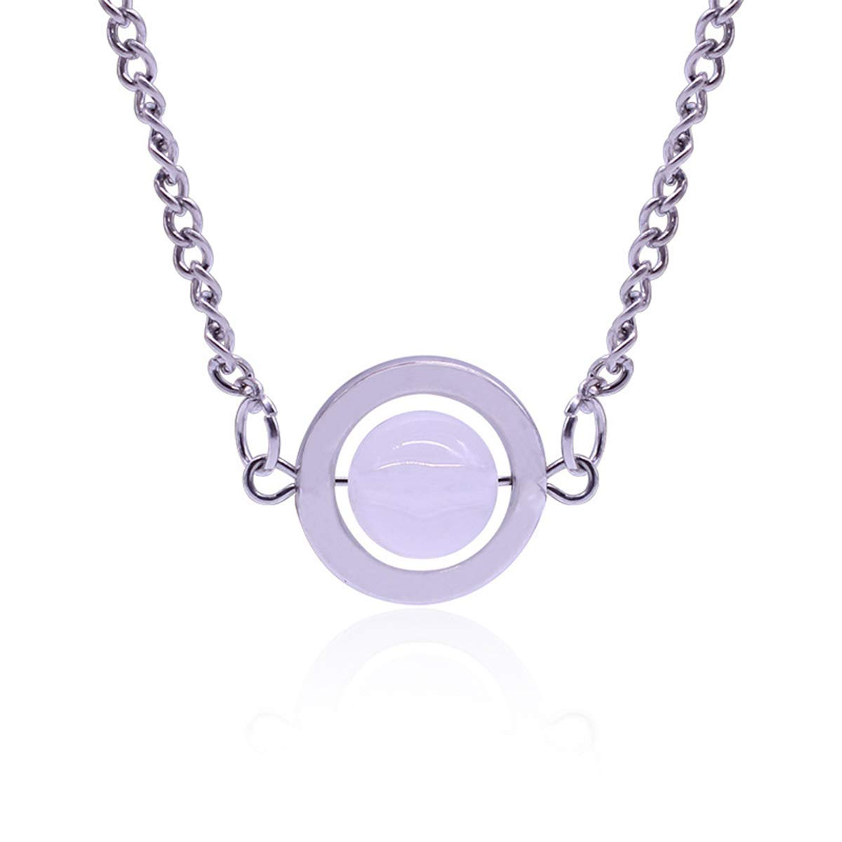 Onlyfo Moonstone Twilight Bella Circle Pendant Necklace with Jewelry Box,Twilight Necklace for Women White