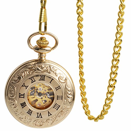 ManChDa Double Cover Roman Numerals Dial Golden Hand Wind Skeleton Mens Women Pocket Watch Gift by ManChDa (Image #2)