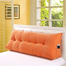 Vercart Sofa Bed Large Filled Triangular Wedge Cushion Bed Backrest Positioning Support Pillow Reading Pillow Office Lumbar Pad with Removable Cover Orange 59x19x10inch