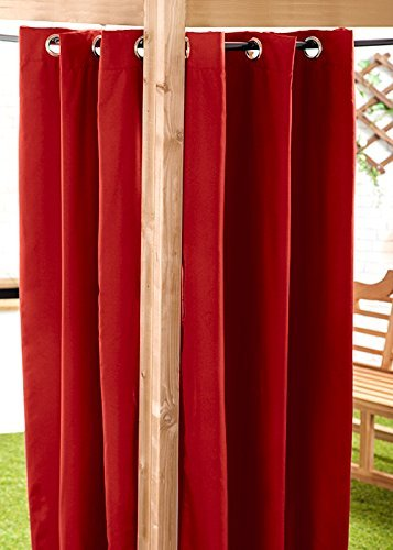 Red Water Resistant Ready Made Outdoor Eyelet Curtain 55