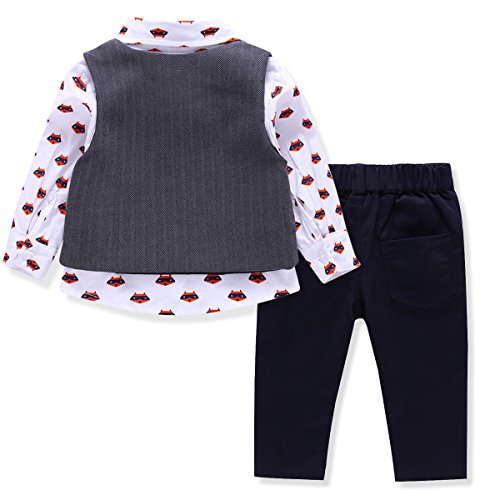 01ffb629a228 LvYinLi US Baby Boys 4 Pieces Bowtie Gentleman Long sleeve shirt ...