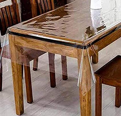 Yellow Weaves Pvc Transparent Clear Dining Table Cover Tablecloth Waterproof Protector, 6-8�