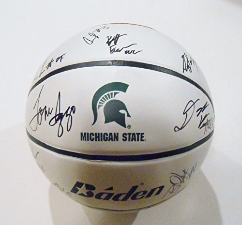 2014-15-Michigan-State-Spartans-Team-Signed-Basketball-wCOA-2015-Final-Four-C-Autographed-College-Basketballs
