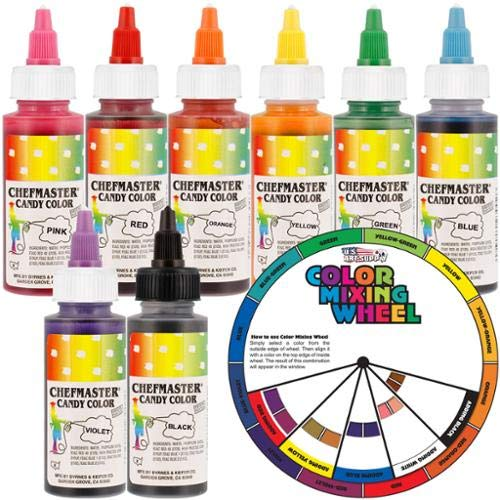 OKSLO Chefmaster by 2-ounce liquid candy color 8 bottle kit w/color mixing wheel ()