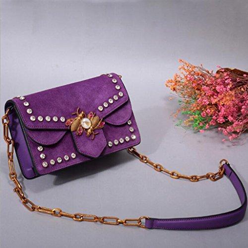 5 6 dimensioni A Borsa Messenger 5 Liu Purple Pelle Femminile 14cm Con Powder Bare In Tracolla 21 Rivetto Vera colore OAwqv7q
