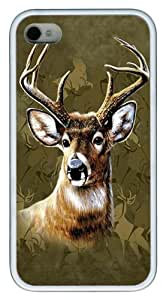 Camo Deer TPU Silicone Case Cover for iPhone 4/4S White