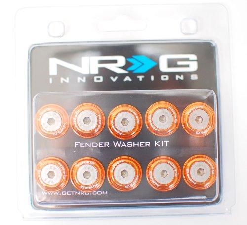NRG Aluminum (Orange) Fender Washer Kit 10mm 10pcs Set