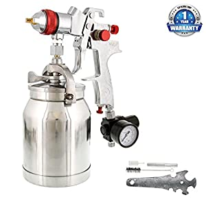 TCP Global Brand HVLP Spray Gun with Cup & 1.4mm Needle & Nozzle for Auto Paint, Primer & Topcoat Applications One Year Warranty